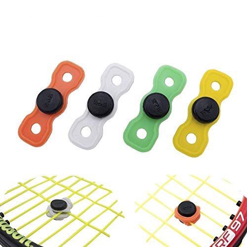 Tennis Button Vibration Dampener Set of 4 - Never Lost - Shock Absorber for Tennis Racket and Strings (Assorted Colors) - Durable & Long-Lasting- Great for Tennis Players (4-Pack)