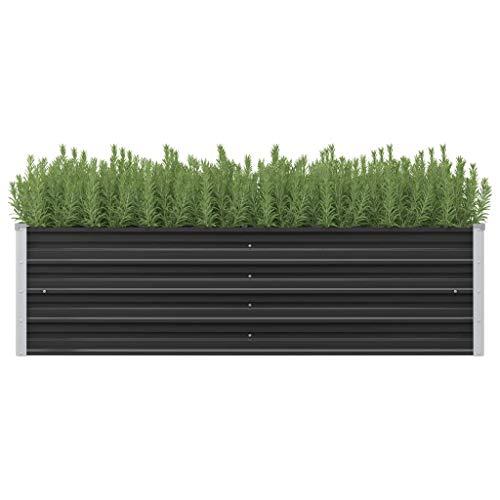vidaXL Arriate Exterior Grande Macetero Huerto Urbano Maceta XXL Mesa Cultivo Verduras Plantas Flores Acero Galvanizado Gris Antracita 160x40x45 cm