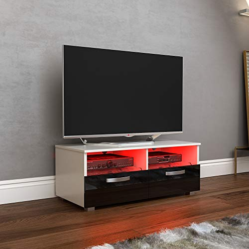 Vida Designs Vogue-Mueble de TV LED con 2 cajones (MDF), Color Blanco y Negro, 2 Drawer