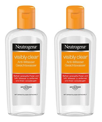 Neutrogena Visibly Clear Anti-Mitesser Gesichtswasser – Klärendes Reinigungswasser für das Gesicht gegen Unreinheiten und Mitesser – 2 x 200ml