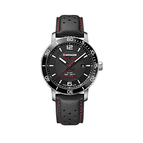 Wenger Herren Roadster Black Night - Swiss Made Analog Quarz Edelstahl/Leder Uhr 01.1841.101