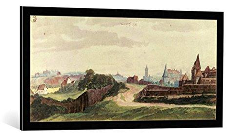 kunst für alle Bild mit Bilder-Rahmen: Albrecht Dürer Ansicht der Stadt Nürnberg von Westen - dekorativer Kunstdruck, hochwertig gerahmt, 100x45 cm, Schwarz/Kante grau