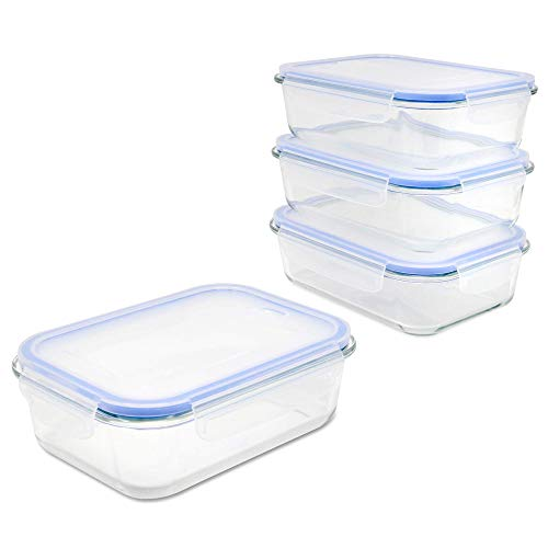 Set of 4 Glass Airtight Food Storage Containers | M&W [Import Anglais]