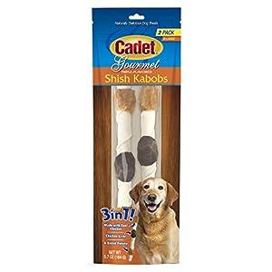Cadet Premium Gourmet Rawhide Triple-Flavored Shish Kabobs Dog Treats Chicken, Liver & Sweet Potato 10″ X-Large 2 Count