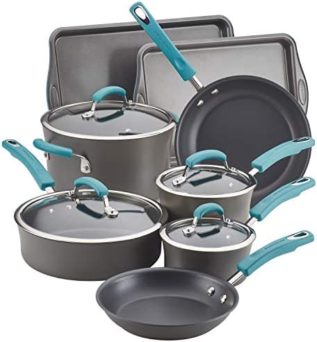 Rachael Ray Brights Hard Anodized Nonstick Cookware Pots and Pans Set 12 Piece Gray with Agave product image