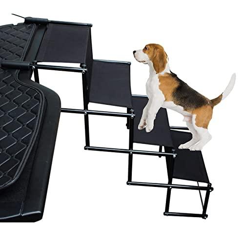 PEALOV Rampa para Perros Plegable,Aumento del Coche Antideslizante para Perros De 4 Pasos con Hebilla Reforzada para VehíCulos Todoterreno,Camiones, Sofá,Escaleras para Perros Y Mascotas
