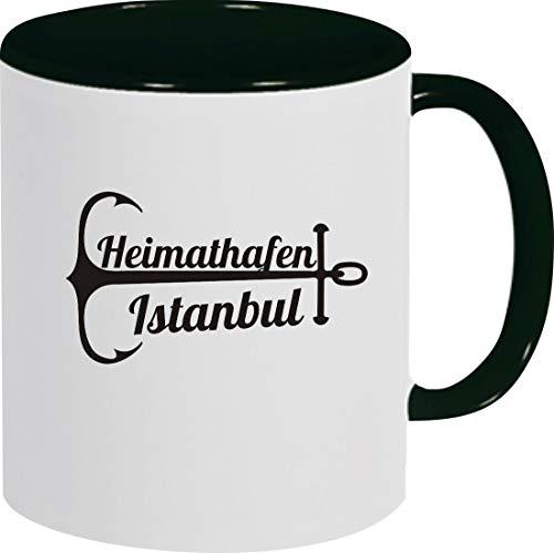 Shirtinstyle Kaffeepott, Kaffeetasse Tasse Heimathafen Istanbul, Urlaub, Heimat Familie Zuhaus, Liebe, Ort, City, Pott, Tee, Spruch, Sprüche, Logo, Schwarz