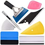 Ehdis Vinyl Wrap Tool 7 Pieces Vehicle Window Tint Tool Kit Car Glass Protective Film Wrapping Installation Set Included Vinyl Squeegees,Felt Squeegee, Film Cutting Knife with Blades