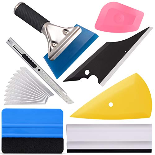 Ehdis Vinyl Wrap Tool 7 Pieces Vehicle Window Tint Tool Kit Car Glass Protective Film Wrapping Installation Set Included Vinyl Squeegees, Mini Scraper, Film Cutting Knife with Blades