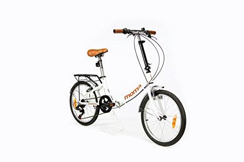 """Moma Bikes Plegable Ruedas 20"""" Shimano. Aluminio Bicicleta, Unisex Adulto, Blanco"""