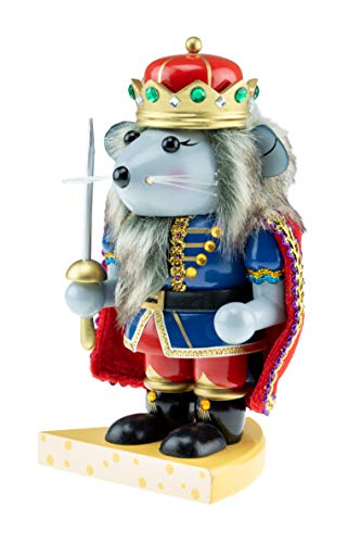 Clever Creations Chubby Wood Mouse King Nutcracker | Traditional Festive Christmas Decor | 7.5' Tall Perfect for Shelves and Tables | 100% Wood