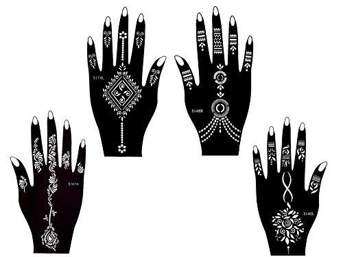 Plantillas de tatuaje, 4 unidades, diseño de henna para uso único para manos Sania 4