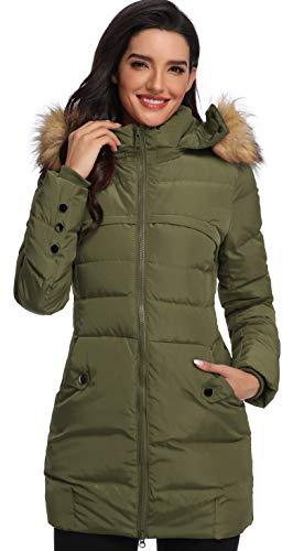 Epsion Women's Hooded Thickened Long Down Jacket Winter Down Parka Puffer Jacket (Armygreen2019, L)