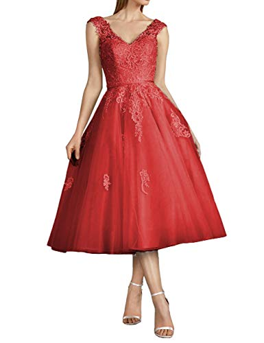 Vintage Brautkleider Hochzeitskleider Standesamt Rückenfrei Kurz A-Linie Tüll V-Ausschnitt Abendkleider Ballkleider Perlen Rot 32