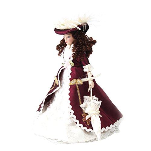 Puppenhaus Puppe Miniatur Porzellanpuppen - Dame Figur mit Kleidung & Hut