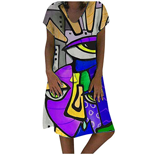 NAQUSHA Women's Summer Dress,Casual Fashion Print V-Neck Plus Size Loose Long Short-Sleeved Dress midi Dress for Women(C-Purple,Small)