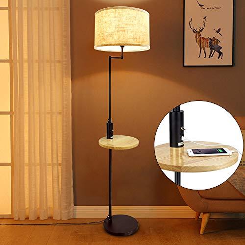 Lámpara de pie con mesa de madera
