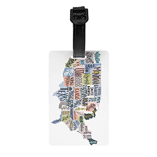 US States MapLage Tags, etiquetas para maletas, Accories de viaje PVC Lage Bag Tags, adecuado para viajes deportes Backk decoración
