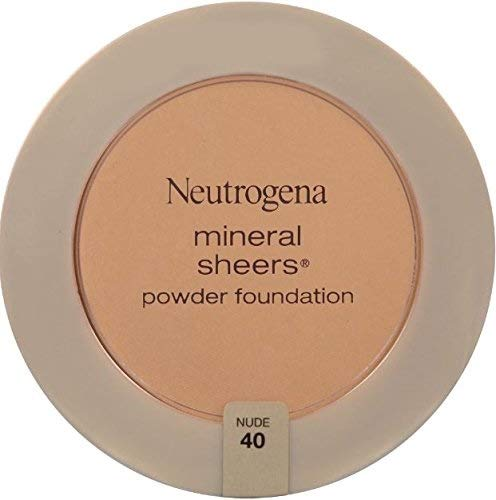 Neutrogena Mineral Sheers Compact Powder Foundation, Lightweight & Oil-Free Mineral Foundation, Fragrance-Free, Nude 40,.34 oz (Pack of 2)
