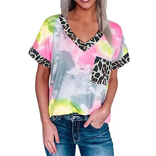 Bolso Tote para Mujer con Estampado de Leopardo y Escote en Pico y Manga Corta Camiseta túnica de Manga Larga para Mujer Camisas largas básicas Escote en Pico Tops asimétricos Tops Sexy Casual Blusa