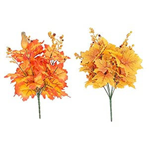 Topaty Artificial Maple Plant Bunch, Artificial Silk Autumn Maple Leaf Shrubs Faux Plants, Cuttable Fall Ornament for Indoor Outdoor Home Kitchen Decoration