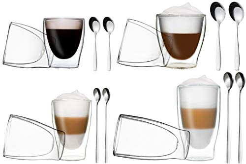 DUOS 8er-Set doppelwandige Thermo-Gläser + 8X Edelstahl-LÖFFEL, 2X 80ml Espresso, 2X 200ml Teeglas, 2X 310ml Latte Macchiato, 2X 400ml Longdrink by Feelino