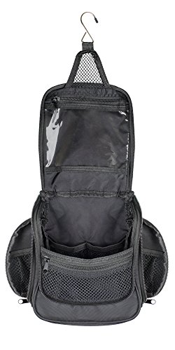 Compact Hanging Toiletry Bag and Organizer, Water Resistant with Mesh Pockets (Graphite)