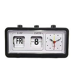 Vintage Folding Clock Decorative Bedroom Retro Flip Down Clock Date Time Auto Page Table Clocks Student Desk Clock