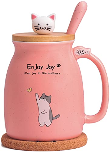 Cute Cat Cup Ceramic Coffee Mug with Kawaii Cat Wooden Lid, Lovely Stainless Steel Spoon, Anime Kitty Thicken Wooden Coaster, Christmas Birthday Gift Cute Thing Japanese Mug 480ML(Pink)