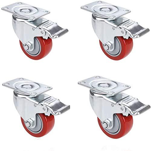 Voluker 4 Pcs 75mm Ruote Orientabili, Ruote girevoli con Freno,Ruote per mobili, Portata 400 kg ,Rosso