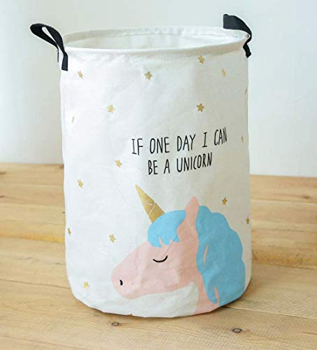 JameStyle26 Cesto plegable para la ropa sucia, caja de almacenamiento para habitación de los niños, sala de estar, baño, ositos, cesta, cubo de juguetes (unicornio 1)