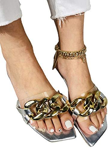 CORAFRITZ Zapatillas planas de moda para mujer con cadena de oro y correa para verano, zapatos casuales