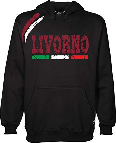 vestipassioni Felpa Livorno Cappuccio Sport Tifosi Ultras Calcio Supporter Made in Italy(XXL, Nero)