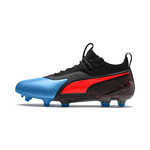 Puma Herren ONE 19.1 FG/AG Fußballschuhe, Blau (Bleu Azur-Red Blast Black), 43 EU