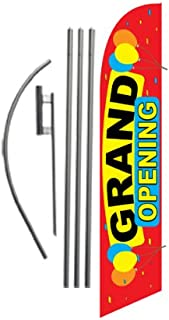 Grand Opening Advertising Feather Banner Swooper Flag Sign with Flag Pole Kit and Ground Stake, Red