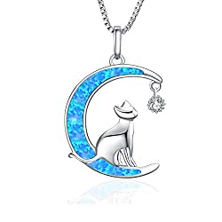 Blue Moon Cat necklace 925 Sterling Silver Jewelry Pendant