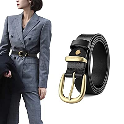 OZZEG Belts for Women Genuine Leather Belt with Gold Buckle Casual Jean Dress Waistbands, Black S