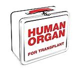 CAJA con la inscripcción Human Ogran For Transplant