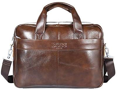 Boss ARON Sacoche en cuir véritable faite à la main pour homme CT-Marron