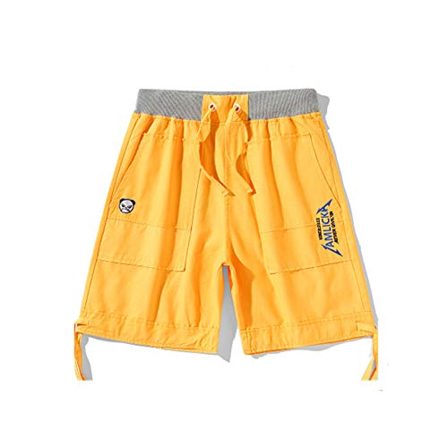 CO Summer Five-Point Pants Embroidery Letter Panda Shorts Men's Straight-Leg Pants Casual Workwear Middle Pants Yellow