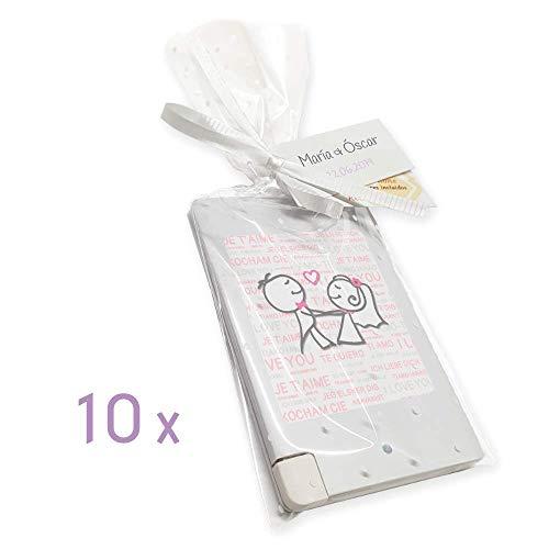 VITAMOVIL Batería Externa - Regalo para Invitados Boda - Recargable y Precargada - Android, iOS y USB-C. Cable Integrado - Detalle Original, Práctico y Unisex (Novios Bailando)
