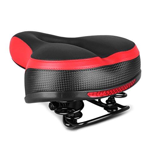 VOSAREA Selle de vélo Selle de Remplacement Souple et Confortable avec Autocollant réfléchissant Accessoires de vélo pour Enfants Adultes Vélos de Montagne Vélos de Route VTT (Rouge)