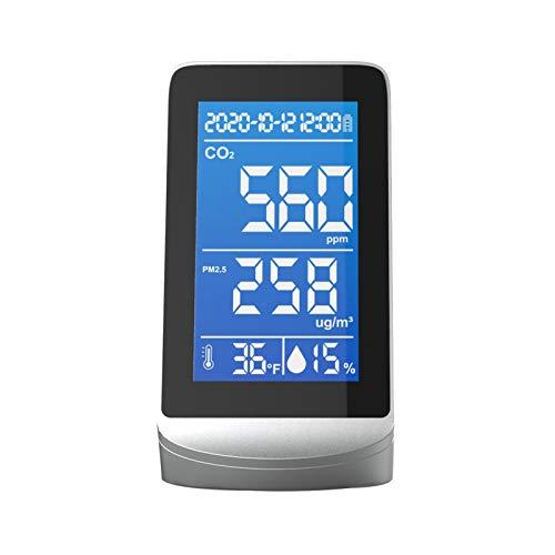 Tragbarer Luftqualitätsanalysator, digitales Display, CO2, PM2.5, Temperatur-/Luftfeuchtigkeitsmesser, Monitor Infrarot NDIR Detektor, Innen- und Außenbereich Erkennungswerkzeug