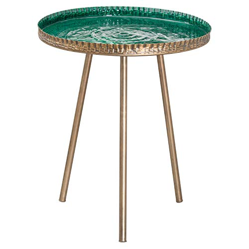 MAISONICA Dreibeintisch mit geprägter Keramik, Grün und Messing