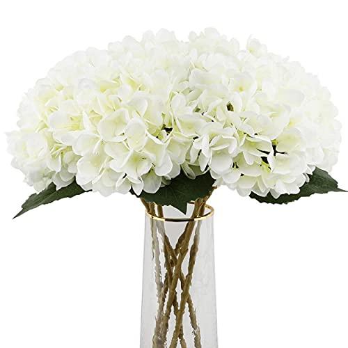 Decpro 6 STK Künstliche Hortensien, 18,9 Zoll Single Stem Hydrangea Seidenblumen für Brauthochzeitssträuße, Haus, Büro, Hotel, Partydekoration, Mittelstücke, Blumenarrangements(Cremeweiß)
