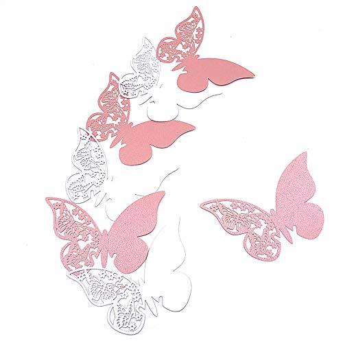 HaimoBurg 100 Pièces Blanc/Rose Carte de Verre Marque Place Carte de Siège Forme de Papillon Ajouré Décoration de Table Deco Mariage, Baptême, Carte De Fête