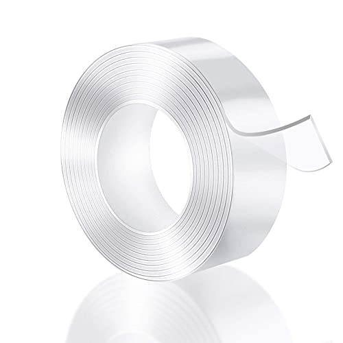 JeoPoom Ruban Adhésif Double Face[3m], Ruban Adhésif Lavable Sans Traces, Nano Tape, Nano Magique Réutilisable, Lavable et Résistant, pour Verre, Plastique, Bois, métal, Papier(Transparent)