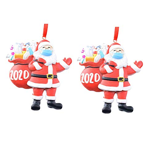 2020 Christmas Ornaments, Quarantine Survivor Santa Claus Ornaments Toy,Santa Wearing_Mask in Quarantine Keepsake-2Pack