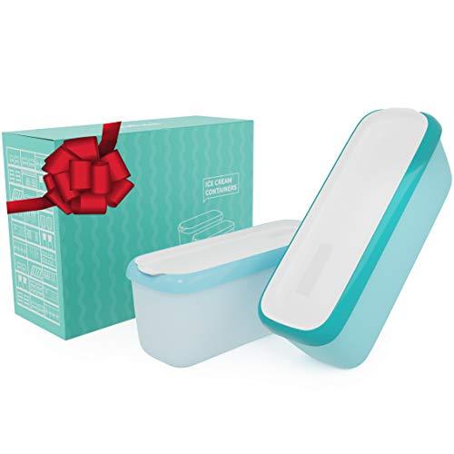 SveBake Eisbehälter für Speiseeis 1,4 Liter - 2er-Set Behälter mit Deckeln, Hausgemachte für EIS Creme, Grün