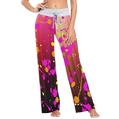 colormu Womens Pj broek slaap broek lange atletische brede been broek verf plash - - S